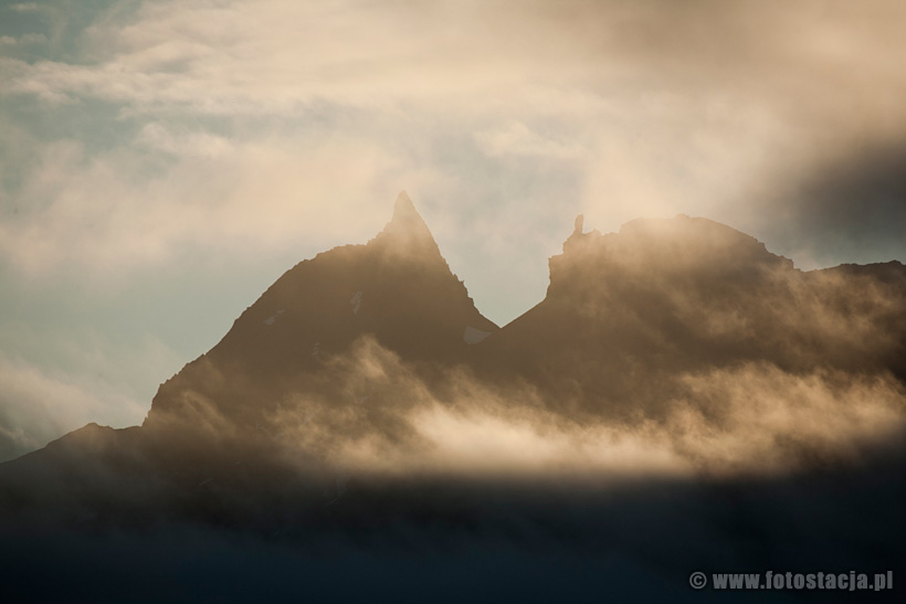 The peaks in the clouds